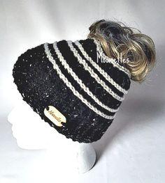Handmade Messy Bun Hat Black Beanie Wood Button Runner Pony Tail Holder Aran Fleck Beige Cream Stripe
