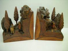 Antique American Folk Art Primitive Bookends Fitzgerald | eBay
