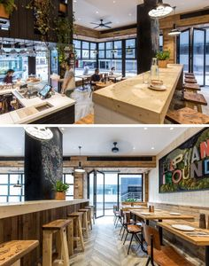 This cafe has a second seating and bar area is located at the back of the coffee shop, that is raised up and provides views of the lower level and the street outside.