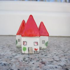 Miniature Pottery House,Little Clay House,Cute Small House,White House,Tiny Ceramic House,Miniature House,Tiny House,Small details,Red Roof by TatjanaCeramics on Etsy