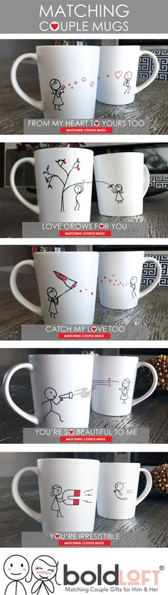 Perfect Valentine's Day gifts for boyfriend or husband. Matching Couple Mugs from BoldLoft. Boldloft's love-filled his and hers couple coffee mug set will go to work for you as your loved one's daily reminder that your heart is overflowing with love just for them! #matchingcouplemugs