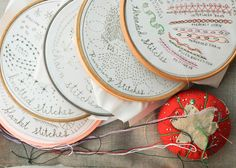 ooooh! 6 month set of embroidery samplers, each highlighting a different family of stitches! $50