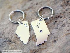 Items similar to CUSTOM Long Distance Love KEYCHAINS Best Friend Gift- Set of TWO State Maps (Indiana Keychain Illinois Keychain) on Etsy, a global handmade and vintage marketplace. Graduation Gifts For Best Friend, Personalized Graduation Gifts, Graduation Presents, College Graduation Gifts, Grad Gifts, Gift For Best Friend, College Presents, College Gifts, Cool Gifts
