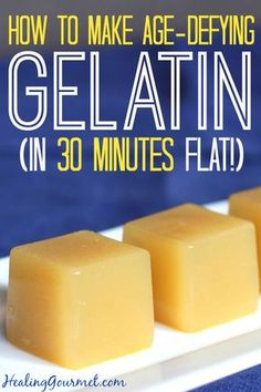 Learn how to Age-Defying Gelatin in 30 Minutes - Healing Gourmet (tag: bone broth) Gelatin Recipes, Jello Recipes, Real Food Recipes, Diet Recipes, Cooking Recipes, Beef Gelatin, Delicious Recipes, Healthy Recipes, Dessert