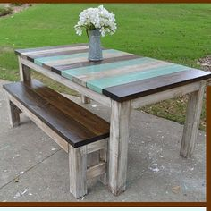 Vertical Board Farmhouse Table Custom Built by SimplySouthernHome