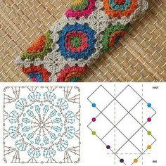 New Crochet Granny Square Purse Pattern Charts 58 Ideas Point Granny Au Crochet, Granny Square Crochet Pattern, Crochet Diagram, Crochet Chart, Crochet Squares, Crochet Doilies, Crochet Blocks, Hexagon Pattern, Free Pattern