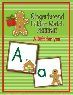 """A gift for you! This gingerbread letter match freebie will be a great addition to your gingerbread-themed unit. Use the full set of uppercase and lowercase cards as a memory match game, as a file folder game, or during circle time. This freebie compliments my <a href=""""http://www.teacherspayteachers.com/Product/Gingerbread-Math-Bundle-Activities-for-Early-Childhood-Learning"""">Gingerbread Math Bundle: Activities for Early Childhood Learning </a>."""
