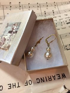 Beautiful vintage assemblage double drop pearl earrings with collage gift box - bridal jewelry - bridal earrings - lever back earrings - by DianaDDarden on Etsy