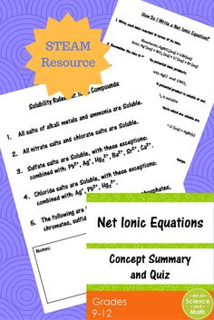 Reinforce the concepts and skills of writing and balancing net ionic equations in your high school chemistry course.