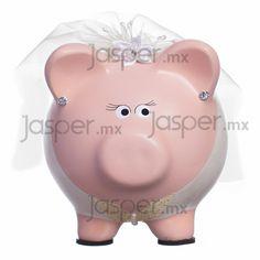 Alcancía de cerdito - Novia Wooden Piggy Bank, Pig Bank, Cute Piggies, Its My Bday, Money Box, Pottery, Crafts, Wedding, Lgbt