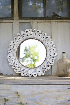 Best 11 Oval Oyster Shell Mirror in all it's beauty makes the perfect coastal accent for any room . Made from reclaimed shells, this oyster shell mirror can bring uniqueness and texture to your coastal decor. Oyster Shell Crafts, Oyster Shells, Sea Shells, Nautical Wall Decor, Coastal Decor, Coastal Living, Coastal Mirrors, Decorative Mirrors, Coastal Style
