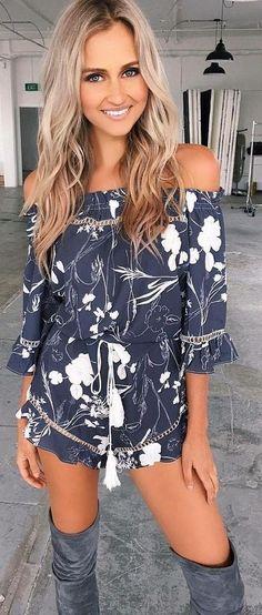 #summer #tigermist #outfits | Monochrome Floral Romper
