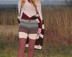 Wool Sweater Shorts Turquoise & Oxblood Fair Isle Knit Scandinavian Upcycled Eco Friendly Size 4 6. $57.00, via Etsy.