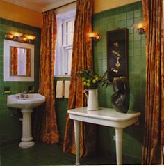 Bathroom with green tile on walls and floor (vintage feel) - Patrick J. Baglino, Jr. Interior Design, pbaglino.com - featured in the Washington Post Home and Design Magazine