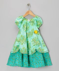 Take a look at this Green Hydrangea Layered Peasant Dress - Toddler & Girls by Art & Soul Boutique by Bercot Girls Dresses Sewing, Toddler Girl Dresses, Toddler Outfits, Kids Outfits, Toddler Girls, Fashion Kids, Girl Dress Patterns, Cinderella Dresses, Little Girl Dresses