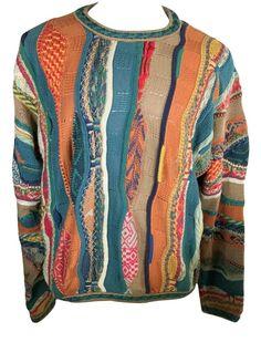 Vintage COOGI Mens L Mercerized Cotton 3D Colorful Hip Hop Biggie Sweater #COOGI #Crewneck