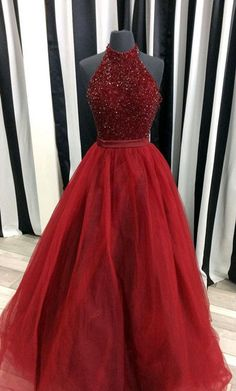 burgundy tulle sequin long prom dress, burgundy evening dress