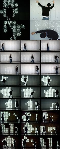 Interactive wall that responds to the presence of people by displaying feedback on the wall as light patterns.