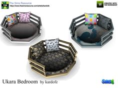Bed for small pets, with two comfortable cushions and in three color options Found in TSR Category 'Sims 4 Pets'