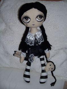 HANDMADE Cloth Art Rag Doll~Wednesday Addams