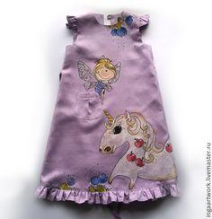 Купить Льняное детское платье.Ручная роспись. - сиреневый, льняное платье, ручная роспись