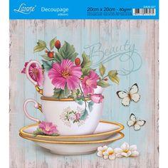 Adesivo de Papel para Decoupage Litoarte 20 x 20 cm - Modelo DA20-027 Fundo Verde com Flores e Madeira - CasaDaArte