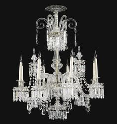 date unspecified A cut glass eight light chandelier, in the manner of Parker and Perry 19th century Estimate   15,000 — 25,000  GBP 22,658 - 37,763USD