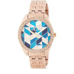 Armani Exchange Women's Serena Mosaic Swarovski Crystal Embellished... ($100) ❤ liked on Polyvore featuring jewelry, watches, rose gold and turq, stainless steel wrist watch, analog watches, stainless steel watch bracelet, stainless steel watches and armani exchange