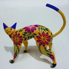 "Alebrije wood carving ""Perky Cat."""