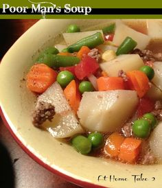 Poor Man's Soup is budget friendly and tasty.  AllSheCooks.com