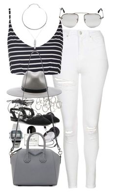"""""""Outfit for summer with white jeans"""" by ferned on Polyvore featuring Topshop, Forever 21, rag & bone, Casio, Yves Saint Laurent, Byredo, Prada and Givenchy"""