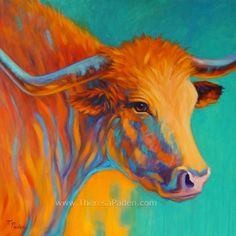Colorful Contemporary Longhorn Cow Painting by Theresa Paden, painting by artist Theresa Paden