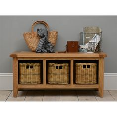 Vancouver Oak Storage Bench with Baskets including free delivery (721.052) | Pine Solutions