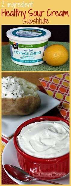 Healthy Sour Cream Substitute. Only 2 ingredients: cottage cheese plus lemon juice or vinegar. Amazingly similar to sour cream. www.theyummylife.com/Healthy_Sour_Cream_Substitute