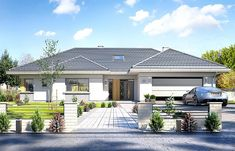 Willa parterowa on Behance Pool House Plans, Barn House Plans, Dream House Plans, House Layout Plans, Modern Bungalow House, Bungalow House Plans, Classic House Exterior, Dream House Exterior, Four Bedroom House Plans