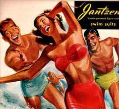 DIGITAL Jantzen Swimwear Advertisement - Vintage Pete Hawley Men Chasing Woman in Ocean Surf -Printable Wall Art Decor [Print/Poster/Canvas] Vintage Bathing Suits, Vintage Swimsuits, Retro Swimwear, Vintage Bikini, Old Posters, Vintage Posters, Vintage Prints, Viejo Hollywood, Pub Vintage