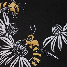 """""""Honey Bee Jubilee"""" Linocut Print with hand colouring 2013"""