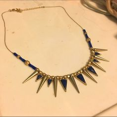 Blue and gold beaded necklace Great little blue and gold necklace with beaded detail. Perfect for accessorizing a plain top Jewelry Necklaces