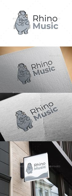 Buy Rhino Music by on GraphicRiver. - A modern and simple logo of rhino - The logo is resizable. - You can change text and colors very easy using th. Logo Design Template, Logo Templates, Cheap Logo, Portfolio Logo, Music Logo, Branding, Free Logo, Animal Logo, Animal Design