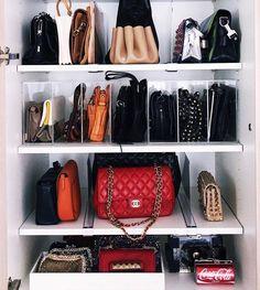 super ideas for cleaning closet organization diy Walk In Closet Design, Bedroom Closet Design, Master Bedroom Closet, Closet Designs, Organizing Purses In Closet, Small Closet Organization, Handbag Organization, Cleaning Closet, Diy Organization