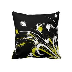 White and Yellow Flower Throw Pillow     $59.95