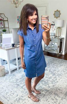 3 Ways To Style a Chambray Dress - Cyndi Spivey Cute Summer Dresses, Cute Dresses, Casual Dresses, Denim Dresses, Denim Outfits, Summer Clothes, Summer Outfit, Cyndi Spivey, Black Tank Dress