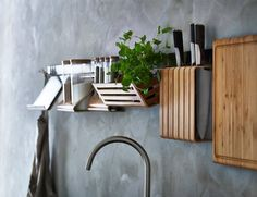 IKEA RIMFORSA Kitchen Accessories Collection: Made from sustainably sourced bamboo, every piece in the collection is designed to be hung on a rail but can also be used and stored independently.