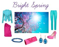 """Bright spring outfit"" by sabira-amira ❤ liked on Polyvore featuring Maison Rabih Kayrouz, Kookaï, Brian Atwood, Larkspur & Hawk, Forever 21 and Menbur"