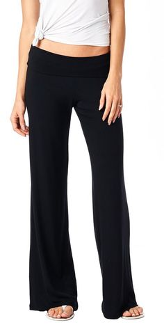 43815362fbf Popana Women s Casual Chic Palazzo Pants - Wide Leg Pants Design - Made in  USA Large Black
