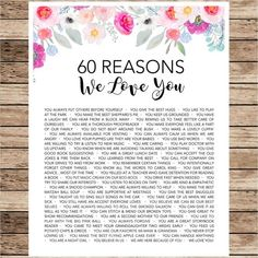 Mom Gifts Discover Boho Watercolor Floral Reasons I Love You - Reasons We Love You - 40 50 60 - 1959 1969 1979 - Custom Poster - Mom Aunt Grandma Group Gift 100 Reasons Why I Love You, I Love You Mum, Just For You, My Love, 60th Birthday Party, Mom Birthday Gift, Love You Boyfriend, Mothers Day Crafts, Gifts For Mom