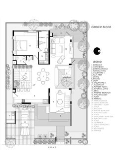 Gallery of Floating Walls House / Crest Architects - 28 Duplex Floor Plans, Architectural Floor Plans, Villa Plan, Courtyard House Plans, Floating Wall, House Front Design, Ground Floor Plan, Villa Design, Architecture Plan