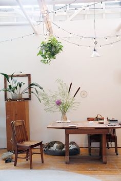 unexpected guests: sarah kersten / sfgirlbybay Workspace Inspiration, Interior Inspiration, Home Office, Vintage String Lights, Barn Kitchen, Sweet Home, Interior Decorating, Interior Design, Interior Plants
