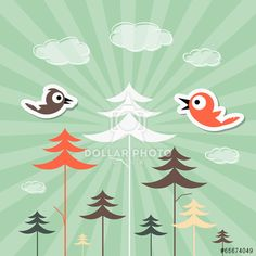 Retro Paper Forest and Birds Vector Illustration