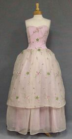 Feminine Lavender & Pearl Grey Chiffon Ball Gown w/ Floral Embroidery